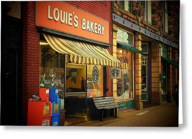 Small Town Scene Greeting Cards - Louies Greeting Card by Joyce Kimble Smith