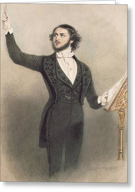 Conductor Greeting Cards - Louis Antoine Jullien Greeting Card by Alfred-Edward Chalon