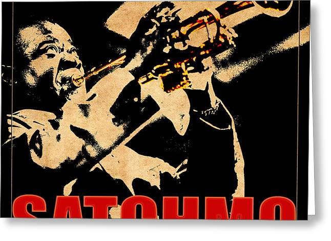 African-american Photographs Greeting Cards - Louis Armstrong Greeting Card by Andrew Fare
