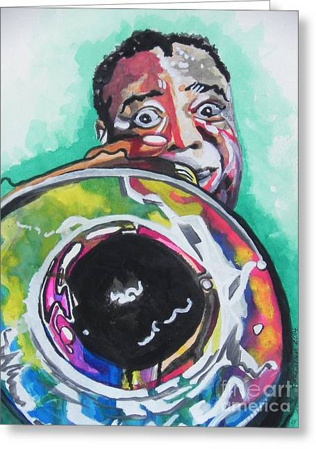 Player Greeting Cards - Louis Armstrong Greeting Card by Chrisann Ellis