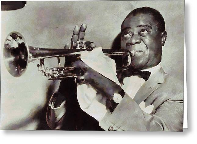 Civil Rights Mixed Media Greeting Cards - Louis Armstrong Greeting Card by Dan Sproul