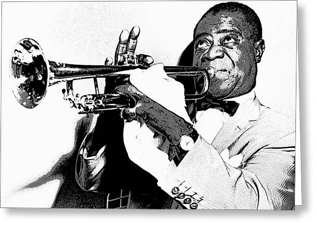 Quartet Digital Art Greeting Cards - Louis Armstrong Greeting Card by Daniel Hagerman