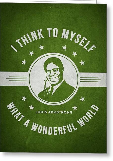 Player Digital Art Greeting Cards - Louis Armstrong - Green Greeting Card by Aged Pixel