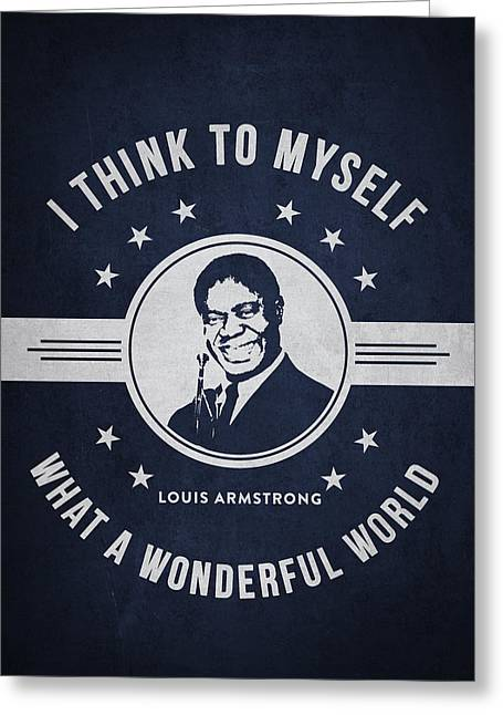 Player Digital Art Greeting Cards - Louis Armstrong - Navy Blue Greeting Card by Aged Pixel