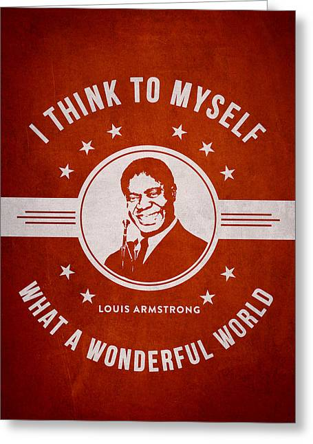 Player Digital Art Greeting Cards - Louis Armstrong - Red Greeting Card by Aged Pixel