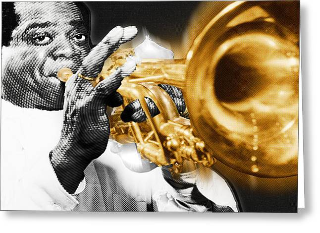 American Pop Culture Greeting Cards - Louis Armstrong Greeting Card by Tony Rubino