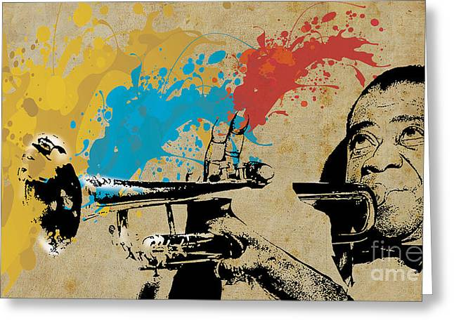Musica Greeting Cards - Louis Armstrong Trumpet and Colors Greeting Card by Pablo Franchi
