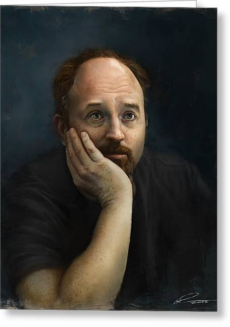 Comedian Digital Greeting Cards - Louis CK Greeting Card by Pavel Sokov