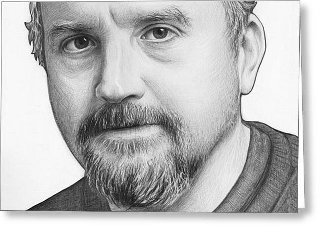 White Drawings Greeting Cards - Louis CK Portrait Greeting Card by Olga Shvartsur