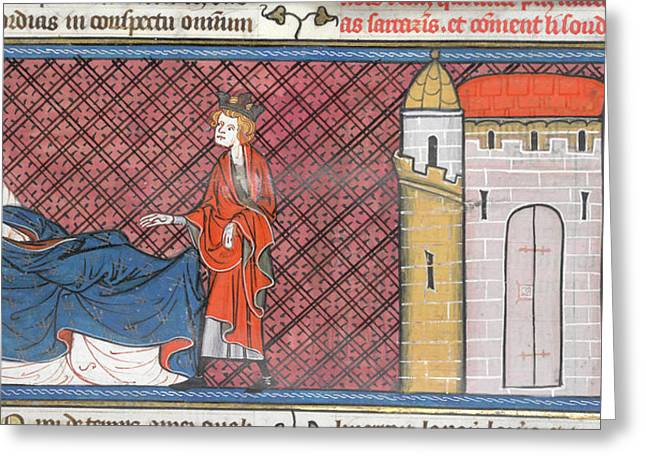 Louis Ix Captured At Mansurah Greeting Card by British Library