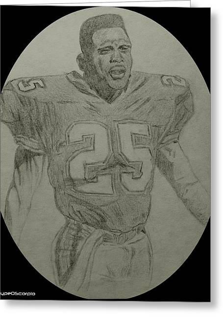Miami Dolphins Drawings Greeting Cards - Louis Oliver Greeting Card by James Markey