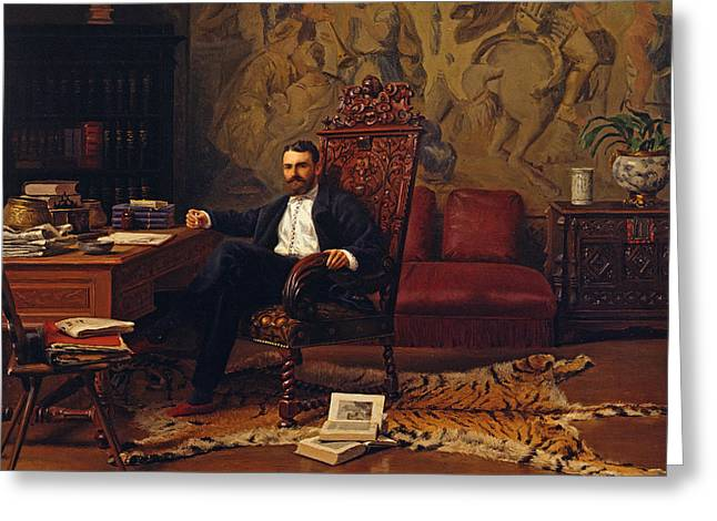 Tiger Skin Rug Greeting Cards - Louis Signorino seated in his study  Greeting Card by Gustave Bourgain