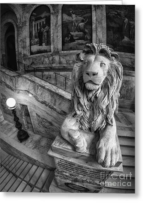 20th Greeting Cards - Louis St. Gaudens 20th Massachusetts Lions Boston Public Library B and W Greeting Card by Scott Thorp