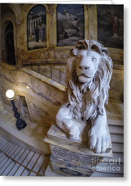 20th Greeting Cards - Louis St. Gaudens 20th Massachusetts Lions Boston Public Library Greeting Card by Scott Thorp