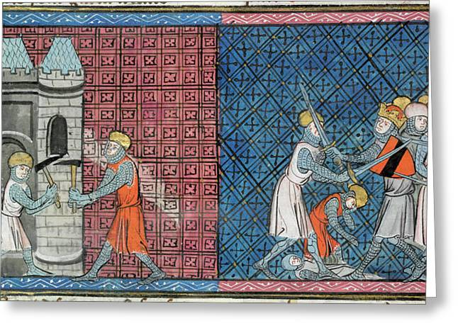 Louis Vii And Emperor Conrad IIi Greeting Card by British Library