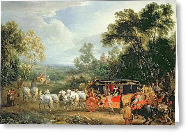 Tap Paintings Greeting Cards - Louis XIV in his state coach Greeting Card by Adam Frans van der Meulen