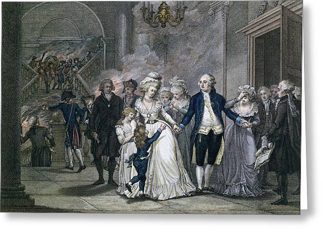 Sorrow Greeting Cards - Louis Xvi 1754-93 Bidding Farewell To His Family, 20th January 1793, Engraved By Reinier Vinkeles Greeting Card by French School
