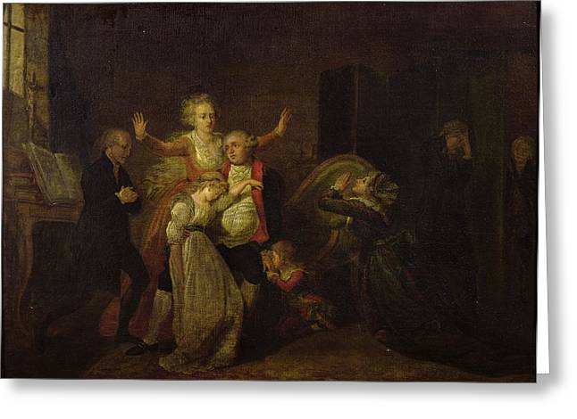 Sorrow Photographs Greeting Cards - Louis Xvi 1754-93 Bidding Farewell To His Family At The Temple, 20th January 1793 Oil On Canvas Greeting Card by Charles Benazech