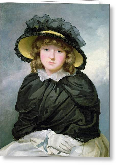 Black Lace Greeting Cards - Louisa Lane, Called Cecilia, Before 1782 Oil On Canvas Greeting Card by John Hoppner