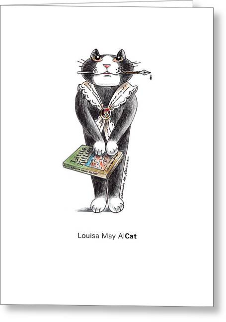 Alcott Greeting Cards - Louisa May AlCAT Greeting Card by Louise McClain Reeves