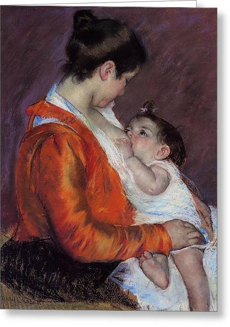 Orchard Digital Art Greeting Cards - Louise Nursing Her Child Greeting Card by Marry Cassatt