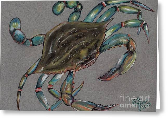 Louisiana Pastels Greeting Cards - Louisiana Blue Crab Greeting Card by Chris Bajon Jones