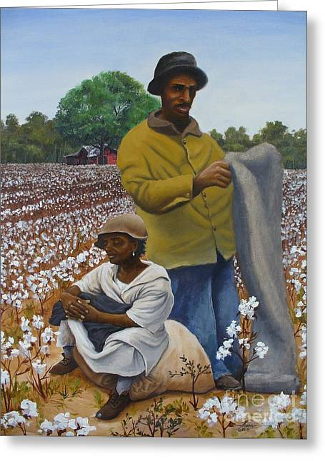 Cotton Pickers Greeting Cards - Louisiana Cotton Pickers Greeting Card by Theon Guillory