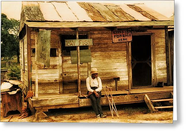 African American History Greeting Cards - Louisiana Fish Shop in 1940 Greeting Card by Mountain Dreams
