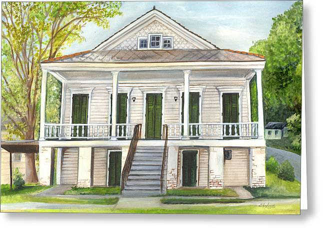 Historic Home Paintings Greeting Cards - Louisiana Historic District Home Greeting Card by Elaine Hodges