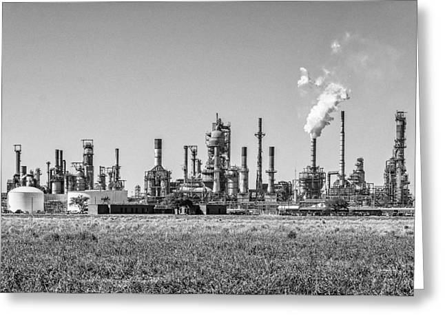 Manufacturing Greeting Cards - Louisiana Industry bw Greeting Card by Steve Harrington