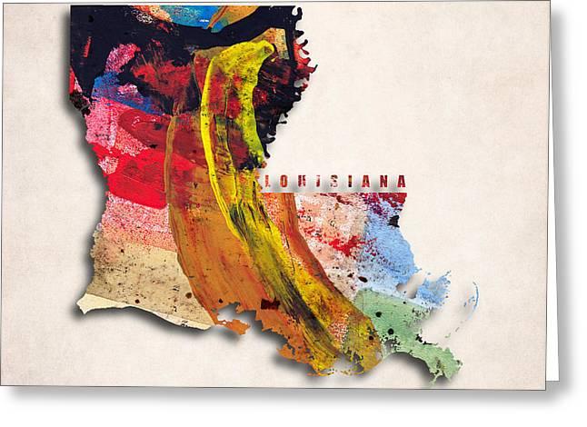 Louisiana Greeting Cards - Louisiana Map Art - Painted Map of Louisiana Greeting Card by World Art Prints And Designs