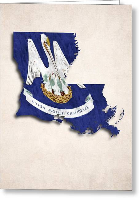 Louisiana Map Art With Flag Design Greeting Card by World Art Prints And Designs