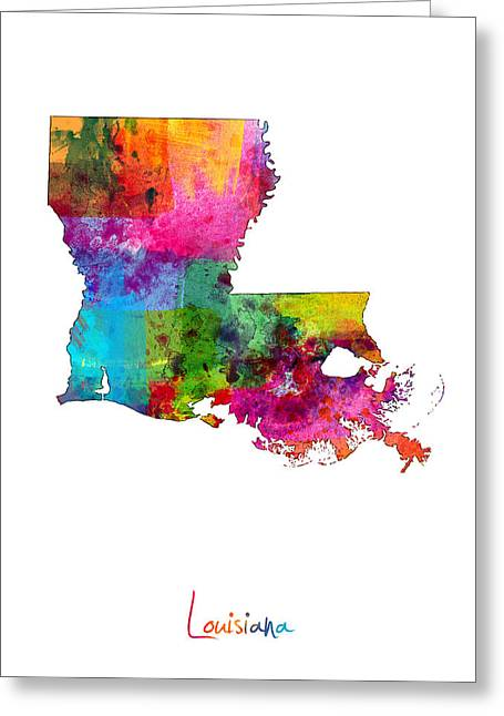 Cartography Digital Art Greeting Cards - Louisiana Map Greeting Card by Michael Tompsett
