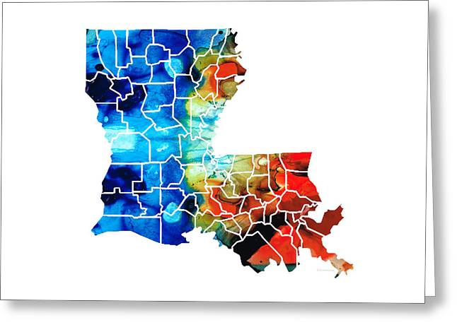 Cajun Greeting Cards - Louisiana Map - State Maps by Sharon Cummings Greeting Card by Sharon Cummings