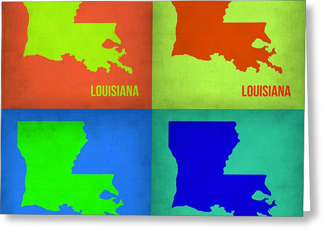 Louisiana Greeting Cards - Louisiana Pop Art Map 1 Greeting Card by Naxart Studio