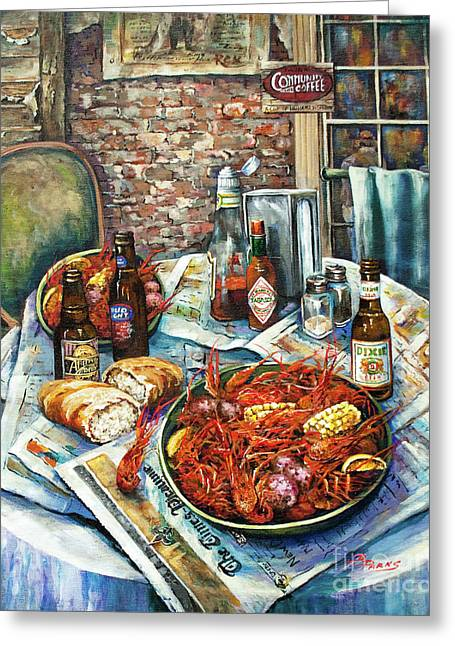 Crawfish Beer Greeting Cards - Louisiana Saturday Night Greeting Card by Dianne Parks