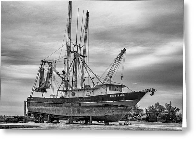 Fishing Trawler Greeting Cards - Louisiana Shrimp Boat bw Greeting Card by Steve Harrington