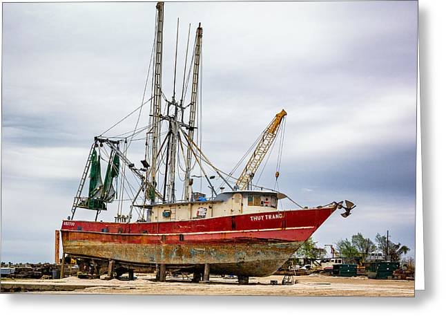 Commercial Photography Greeting Cards - Louisiana Shrimp Boat Greeting Card by Steve Harrington