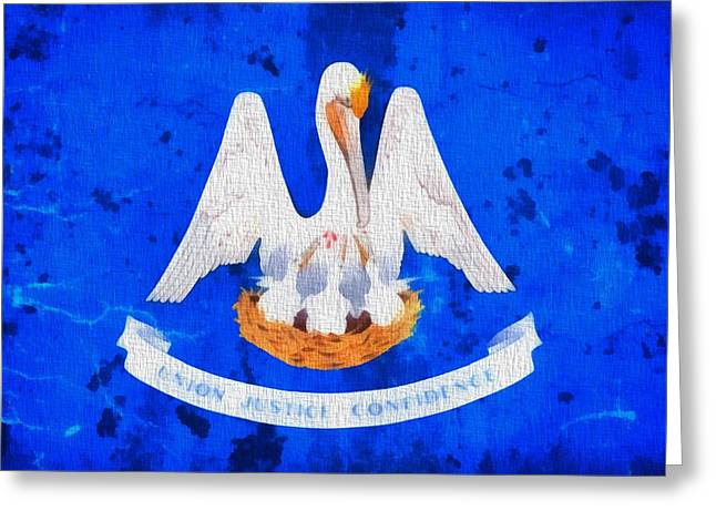 Confidence Mixed Media Greeting Cards - Louisiana State Flag On Worn Canvas Greeting Card by Dan Sproul