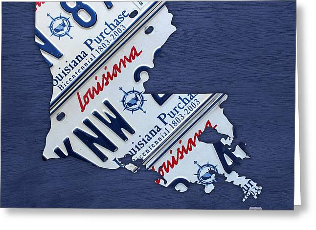 Baton Rouge Greeting Cards - Louisiana State License Plate Map Greeting Card by Design Turnpike
