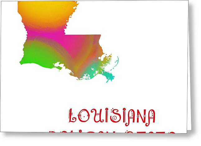State Phrase Greeting Cards - Louisiana State Map Collection 2 Greeting Card by Andee Design