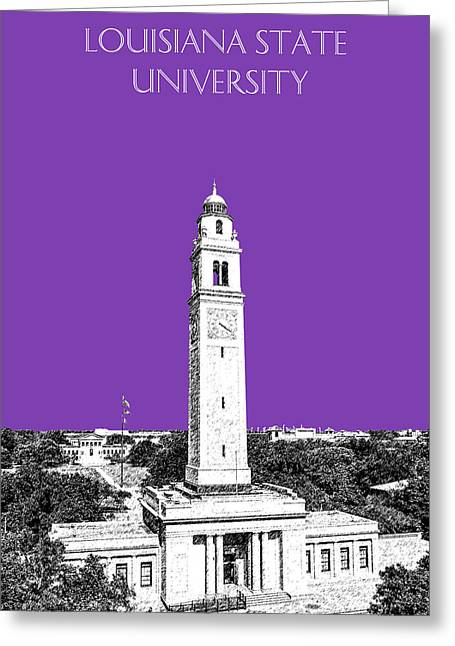 Baton Rouge Greeting Cards - Louisiana State University - Memorial Tower - Purple Greeting Card by DB Artist