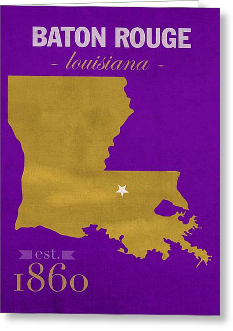 Baton Rouge Greeting Cards - Louisiana State University Tigers Baton Rouge LA College Town State Map Poster Series No 055 Greeting Card by Design Turnpike