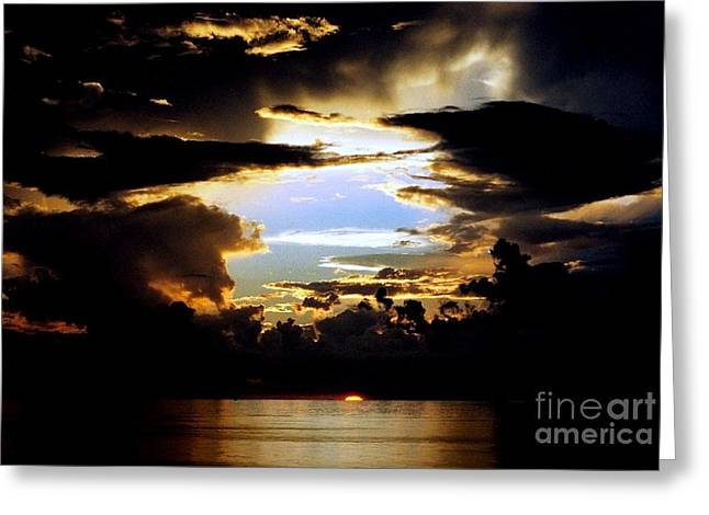 Sunset Greeting Cards Greeting Cards - Louisiana Sunset Blue In The Gulf  Of Mexico Greeting Card by Michael Hoard