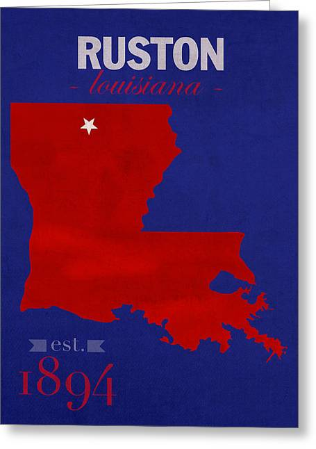 Louisiana State University Greeting Cards - Louisiana Tech University Bulldogs Ruston Louisiana College Town State Map Poster Series No 056 Greeting Card by Design Turnpike