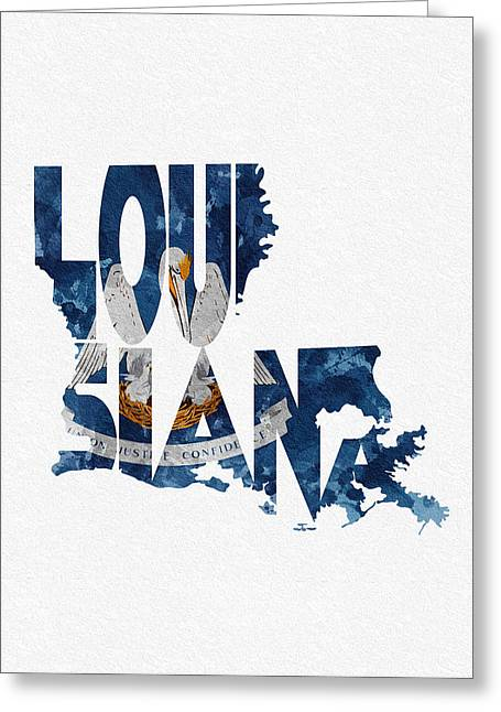 Urban Pyrography Greeting Cards - Louisiana Typographic Map Flag Greeting Card by Ayse Deniz
