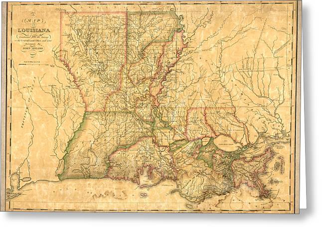 Louisiana Greeting Cards - Louisiana Vintage Antique Map Greeting Card by World Art Prints And Designs