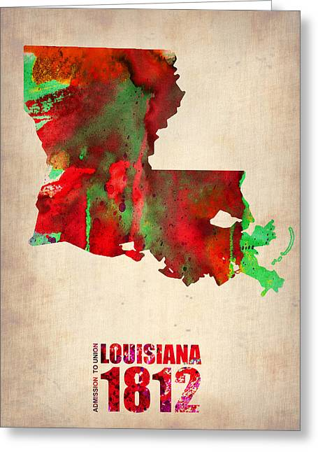 Louisiana Greeting Cards - Louisiana Watercolor Map Greeting Card by Naxart Studio