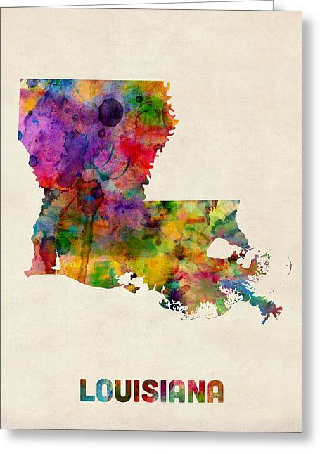 Us Map Greeting Cards - Louisiana Watercolor Map Greeting Card by Michael Tompsett