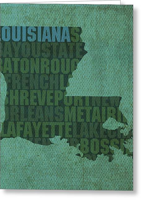 Louisiana Greeting Cards - Louisiana Word Art State Map on Canvas Greeting Card by Design Turnpike